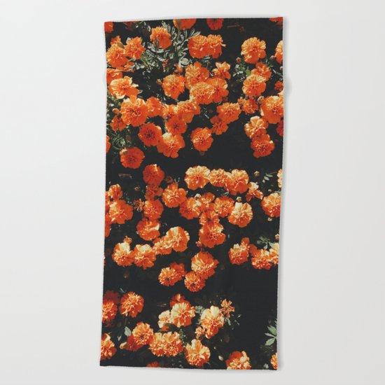 Orange Flowers Everywhere Beach Towel