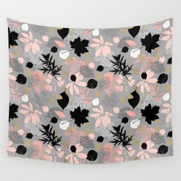 Abstract maple leaves autumn in pink and gray colors Wall Tapestry