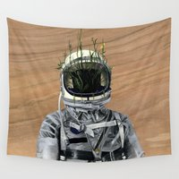 spaceman Wall Tapestries featuring Cacti | Spaceman No:1 by FAMOUS WHEN DEAD