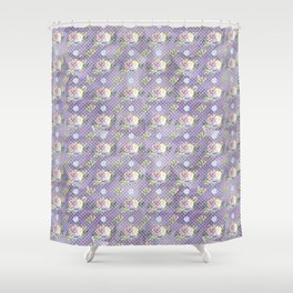 Roses & Forget Me Nots Polka Dotted Puple Shower Curtain