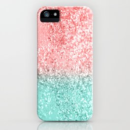 Summer Vibes Glitter #3 #coral #mint #shiny #decor #art #society6 iPhone Case