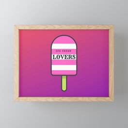 ICE CREAM LOVERS, illustration in pink and purple tones Framed Mini Art Print