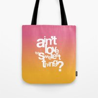u2 Tote Bags featuring Sweetest Thing by Rahma Projekt