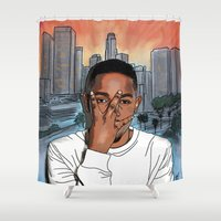kendrick lamar Shower Curtains featuring MAAD CITY by Fake Wealth
