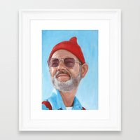 steve zissou Framed Art Prints featuring Steve Zissou by BookOfFaces