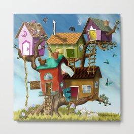 Home Sweet Tiny Tree Houses Metal Print