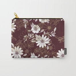 Elegant burgundy white faux gold modern flowers Carry-All Pouch