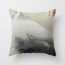 Dragon Rising to the Heavens at Mount Fuji by Ogata Gekko Throw Pillow