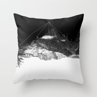 crystal Throw Pillows featuring Crystal Mountain by Schwebewesen • Romina Lutz