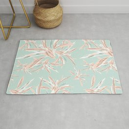 Hawaii style botanical leaves collection in pastel Rug