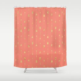 Coral And Gold Glitter Arrow Pattern Shower Curtain