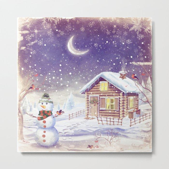 Christmas scene with snowman and house Metal Print