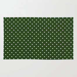 Small White Polka Dot Hearts on Dark Forest Green Rug