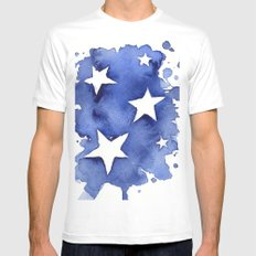 Stars Abstract Blue Watercolor Geometric Painting Mens Fitted Tee MEDIUM White