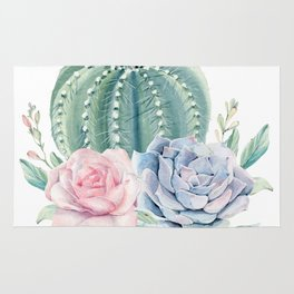 Cactus Rose Succulents Rug