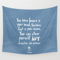 dr seuss Wall Tapestries featuring dr seuss you have brains in your head by studiomarshallarts
