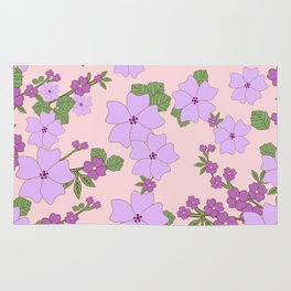 Flowers, Petals, Leaves, Blossoms - Purple Green Rug
