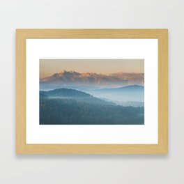 The mountains are calling #sunset Framed Art Print