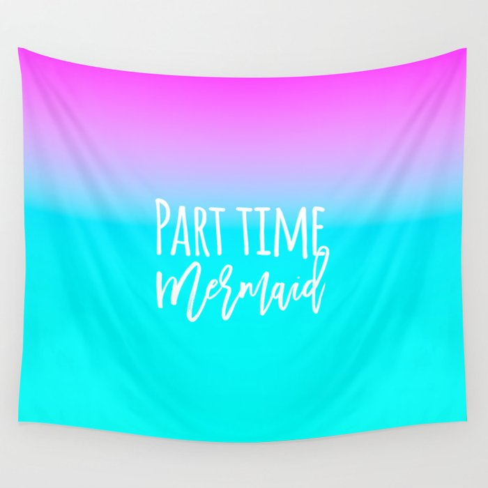 Modern summer part time mermaid typography pink blue gradient Wall Tapestry