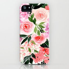 Pink and Red Roses Loose Floral Bouquet iPhone Case