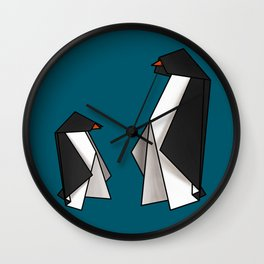 Origami Penguins Wall Clock