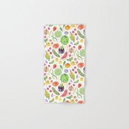 Summer Harvest Pattern White Hand & Bath Towel