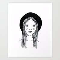 hat girl Art Print
