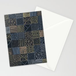 Hand Drawn Geometric Square Pattern Design - Navy Blue Stationery Cards
