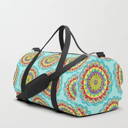 Mandala of Many Colors on Turquoise Duffle Bag