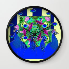 BLUE PEACOCKS & MORNING GLORIES PARALLEL YELLOW PATTERNED ART Wall Clock