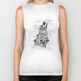 Tattoo style owl with top hat and rose. Rockabilly style.  Biker Tank