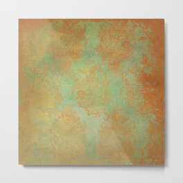 Grunge Garden Canvas Texture:  Gold and Green Baroque Nature Print Metal Print