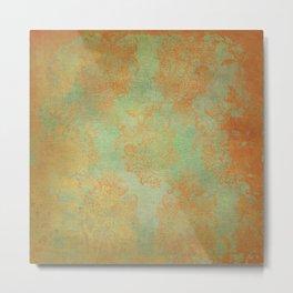 Grunge Garden Canvas Texture:  Gold and Green Baroque Nature Print Metal Print