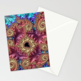 Elegant Stylish Feminine Feather Swirls Spirals Colorful Turquoise Peach Pink Purple Fractal Art Stationery Cards