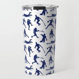 Blue Baseball Players Travel Mug