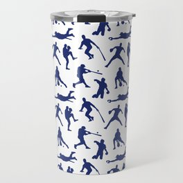 Blue Baseball Players Travel Mug