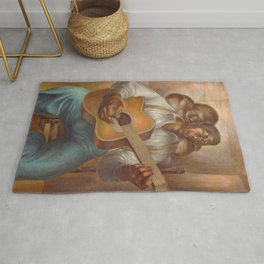 African-American 1952 Classical Masterpiece 'Goodnight Irene' by Charles White Rug