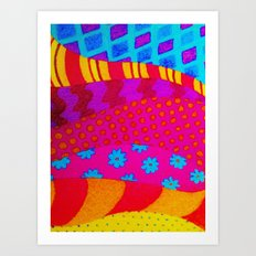 THE HIPSTER - Cool Colorful Vibrant Abstract Mixed Media Trendy Fabric Patterns Illustration Art Print