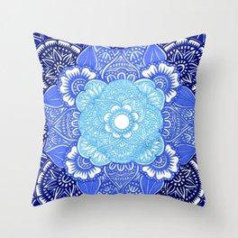 Blue Toned Papercut Mandala Throw Pillow
