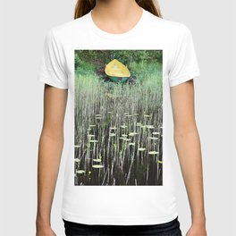 Yellow boat on lakeside T-shirt