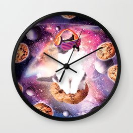 Rave Kitty Cat On Choc Cookie In Space Wall Clock