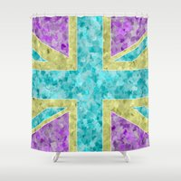 union jack Shower Curtains featuring Floral Union Jack by Alice Gosling
