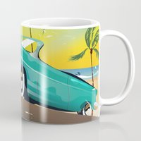 travel poster Mugs featuring Cuba vintage travel poster print by Nick's Emporium Gallery