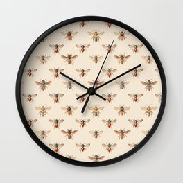 Vintage Bee Illustration Pattern Wall Clock