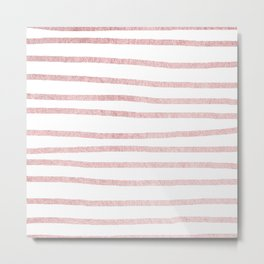 Simply Drawn Stripes in Rose Gold Sunset Metal Print