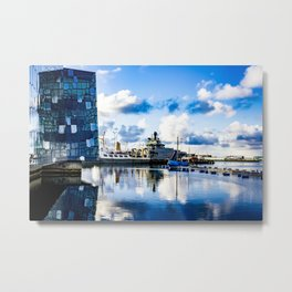 View of Boats on the Sea behind the Harpa Concert Hall in Reykjavik, Iceland Metal Print