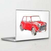 mini cooper Laptop & iPad Skins featuring Red Mini Cooper by Meg Ashford