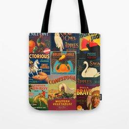 Vintage Fruit and Vegetable Crate Labels Tote Bag