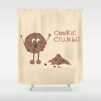 cookie Shower Curtains featuring Cookie Crumble by Creative Lore