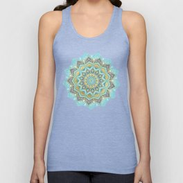 Cyan & Golden Yellow Sunny Skies Medallion Unisex Tank Top